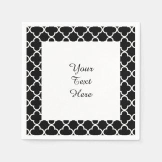 Moroccan Black White Quatrefoil Pattern Paper Serviettes