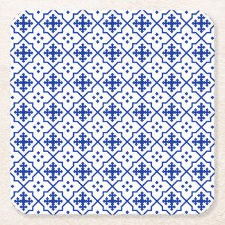 Moroccan Blue Square Paper Coaster