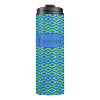 Moroccan Blue Tile Personalized Thermal Tumbler