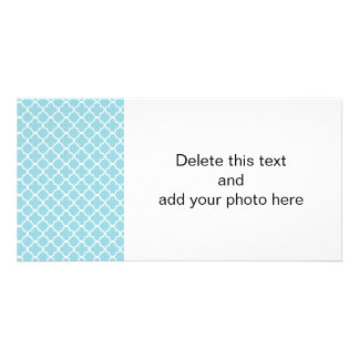 Moroccan Blue White Quatrefoil Pattern Customized Photo Card