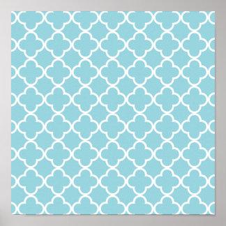 Moroccan Blue White Quatrefoil Pattern Poster