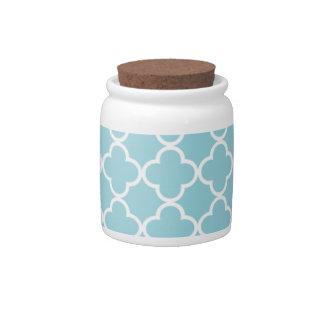 Moroccan Blue White Quatrefoil Pattern Candy Jars