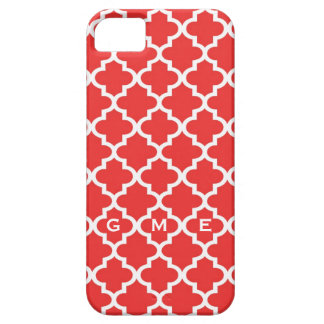 Moroccan brick red tile design 3 monogram iPhone 5 cases