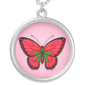 Moroccan Butterfly Flag on Pink Round Pendant Necklace