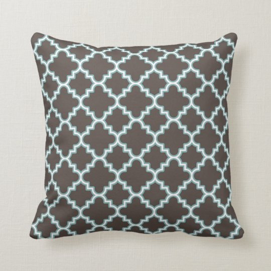 Moroccan Clover Quatrefoil Brown Blue White Cushion
