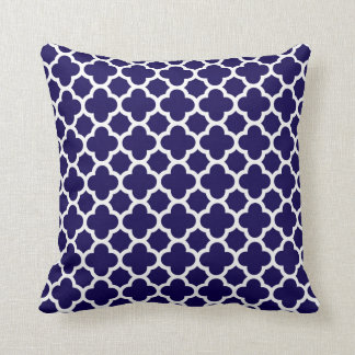 Moroccan Clover Quatrefoil in Cobalt Blue White Cushion