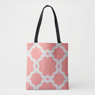 Moroccan coral pattern tote bag