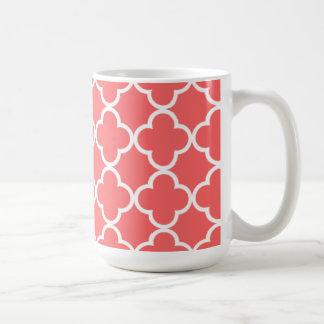 Moroccan Coral White Quatrefoil Pattern Coffee Mug