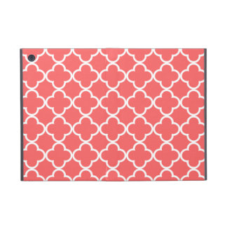 Moroccan Coral White Quatrefoil Pattern iPad Mini Cover