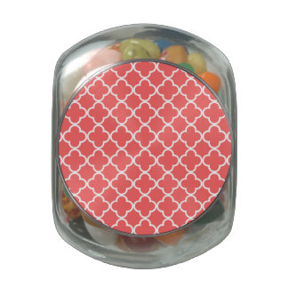 Moroccan Coral White Quatrefoil Pattern Jelly Belly Candy Jar