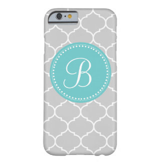 Moroccan Custom Monogram in Gray and Turquoise Barely There iPhone 6 Case