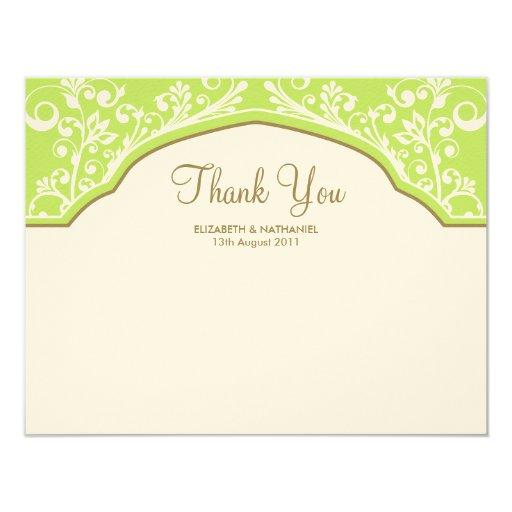 Moroccan Dream Thank You Note Card Green 11 Cm X 14 Cm Invitation Card