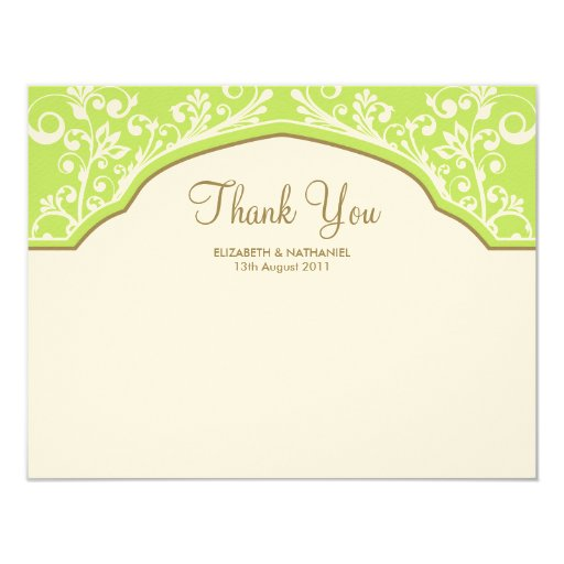 Moroccan Dream Thank You Note Card Green 11 Cm X 14 Cm Invitation Card