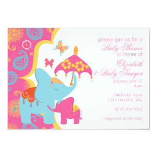 Moroccan Elephant Baby Shower Invitation