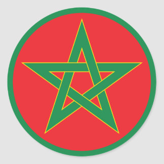Moroccan Flag Round Sticker. Classic Round Sticker