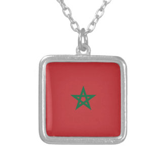 Moroccan Flag Small Silver Plated Square Necklace
