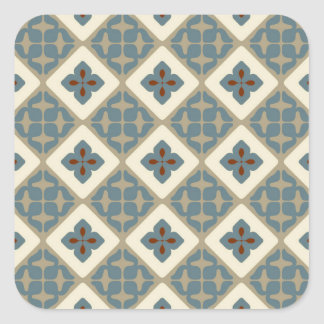 Moroccan Floral Tile Pattern Blue Tan Red Square Sticker