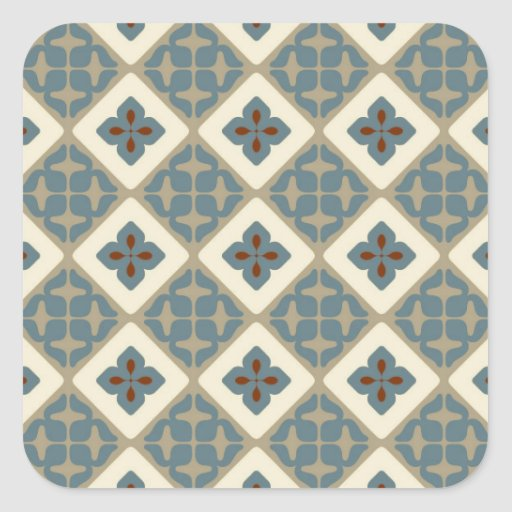 Moroccan Floral Tile Pattern Blue Tan Red Square Stickers