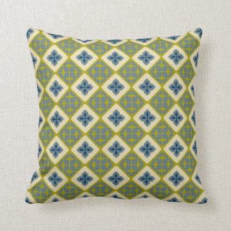 Moroccan Floral Tile Pattern Chartreuse Green Blue Cushion