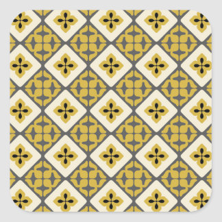 Moroccan Floral Tile Pattern Yellow Grey Black Square Sticker