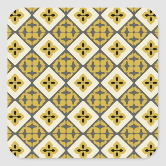 Moroccan Floral Tile Pattern Yellow Grey Black Square