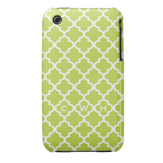 Moroccan fresh lime green tile design 3 monogram iPhone 3 cover