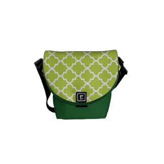 Moroccan fresh lime green tile pattern trendy commuter bag