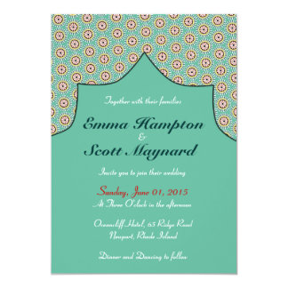 Moroccan geometric decoration wedding invitation