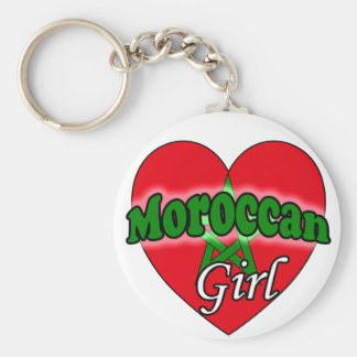 Moroccan Girl Basic Round Button Key Ring