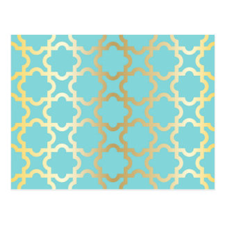 Moroccan gold,mint,tourquise,pattern,girly,trendy, postcard