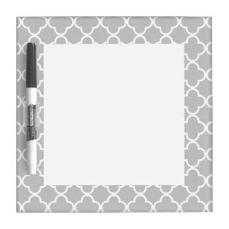 Moroccan Gray White Quatrefoil Pattern Dry Erase Board