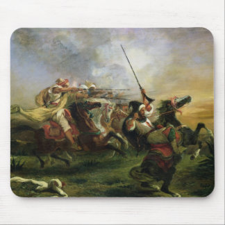 Moroccan horsemen in military action, 1832 mouse pad