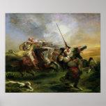 Moroccan horsemen in military action, 1832 poster