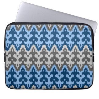 Moroccan Ikat Damask, Blue and Gray / Grey Computer Sleeves