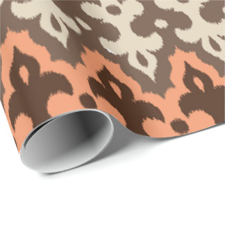 Moroccan Ikat Damask, Brown, Taupe & Coral Wrapping Paper