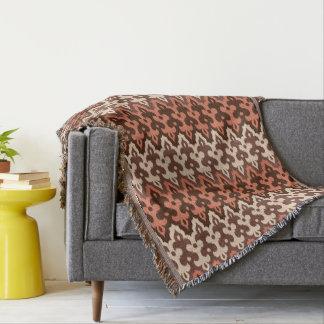 Moroccan Ikat Damask, Brown, Taupe & Rust Throw Blanket