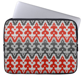Moroccan Ikat Damask, Graphite Gray and Red Laptop Computer Sleeves