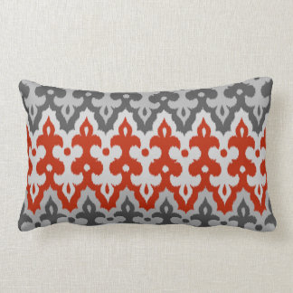 Moroccan Ikat Damask, Graphite Gray and Red Lumbar Cushion