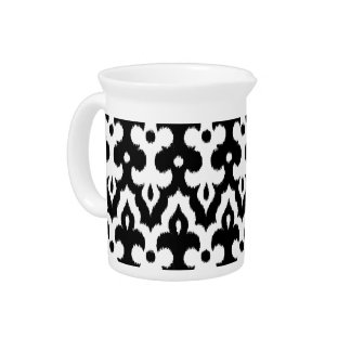 Moroccan Ikat Damask Pattern, Black and White Pitcher