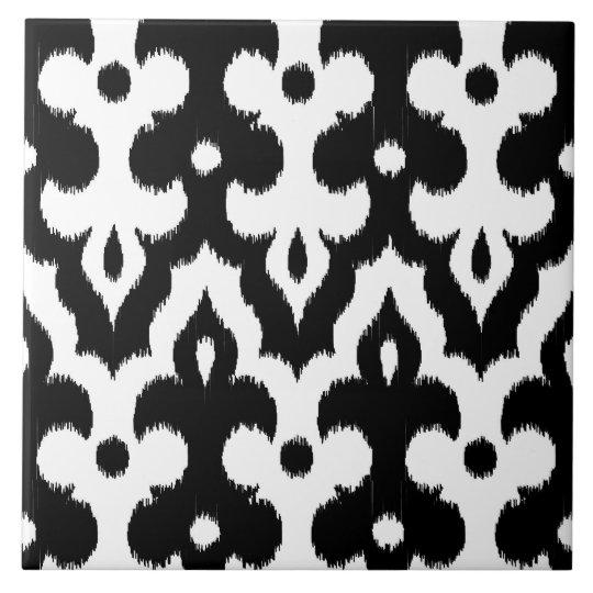 Moroccan Ikat Damask Pattern, Black and White Tile