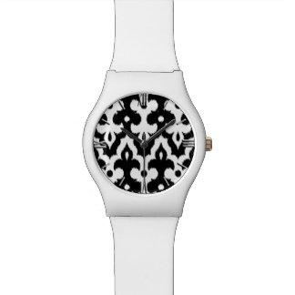 Moroccan Ikat Damask Pattern, Black and White Wrist Watch