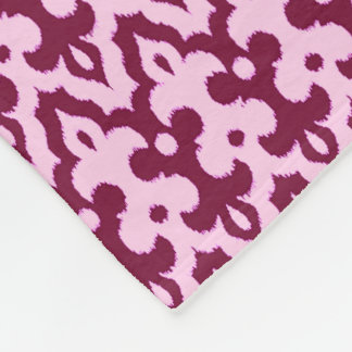Moroccan Ikat Damask Pattern, Burgundy and Pink Fleece Blanket