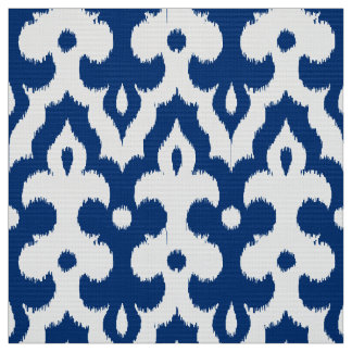 Moroccan Ikat Damask Pattern, Cobalt Blue & White Fabric
