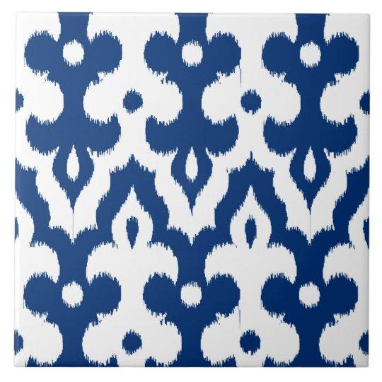 Moroccan Ikat Damask Pattern, Cobalt Blue & White