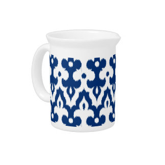 Moroccan Ikat Damask Pattern, Cobalt Blue & White Pitcher