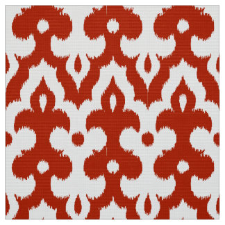 Moroccan Ikat Damask Pattern, Deep Red and White Fabric