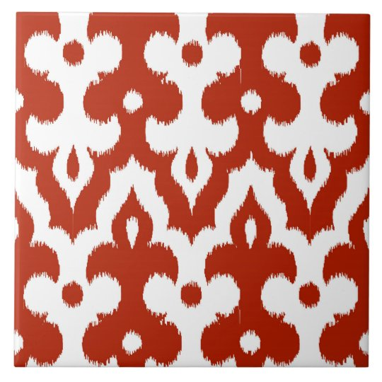 Moroccan Ikat Damask Pattern, Deep Red and White