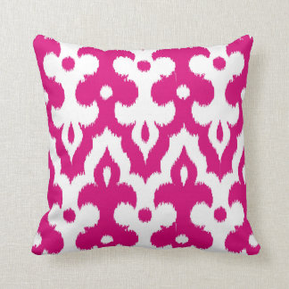 Moroccan Ikat Damask Pattern, Fuchsia Pink & White Throw Pillow