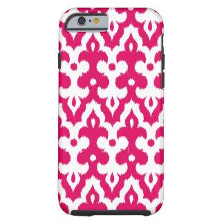 Moroccan Ikat Damask Pattern, Fuchsia Pink & White Tough iPhone 6 Case