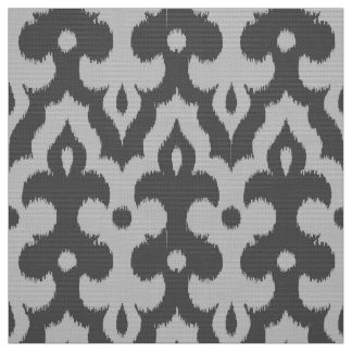 Moroccan Ikat Damask Pattern, Shades of Gray Fabric